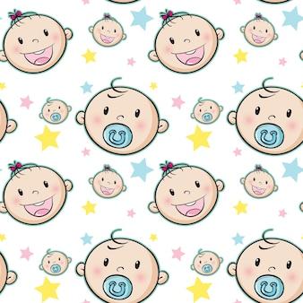 Nahtloser hintergrund mit babygesichtern und sternen