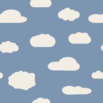 Nahtloser hintergrund mit blauem himmel und weißen karikaturwolken. vektor-illustration.