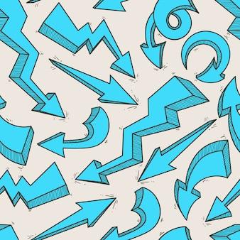 Nahtloser hintergrund mit blauen pfeilen der skizze auf beigem hintergrund