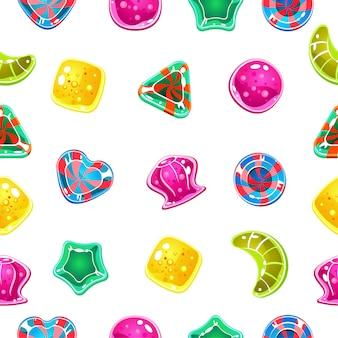 Nahtloser hintergrund mit bunten halloween-bonbons