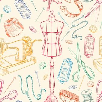 Nahtloser hintergrund mit bunter skizzenschneiderausrüstung. schaufensterpuppe, nähen, nähmaschine. handgezeichnete illustration