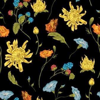 Nahtloser hintergrund mit chrysanthemen