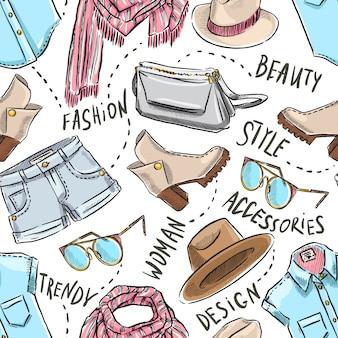 Nahtloser hintergrund mit damenbekleidung und accessoires. handgezeichnete illustration