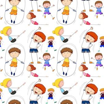 Nahtloser hintergrund mit den kindern, die übung tun