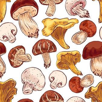 Nahtloser hintergrund mit einer vielzahl von pilzen