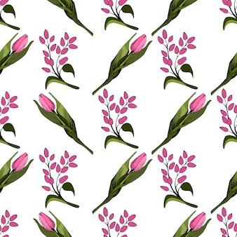 Nahtloser hintergrund mit farbigen rosa tulpen