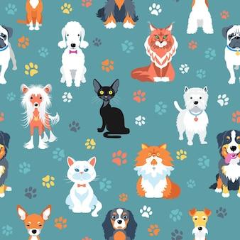 Nahtloser hintergrund mit flachem design von katzen und hunden