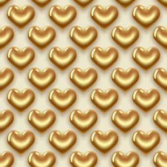 Nahtloser hintergrund mit goldenen herzen. zum valentinstag