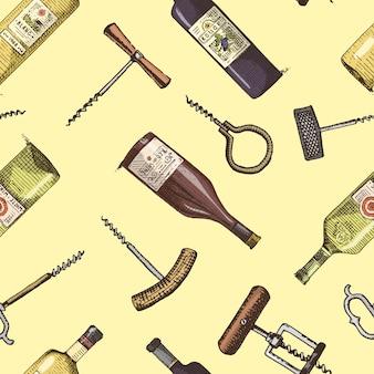 Nahtloser hintergrund mit graviertem vintage-muster des korkenziehers und der weinflaschen.