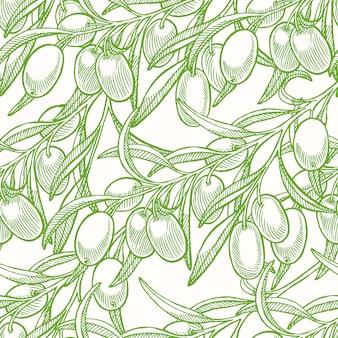 Nahtloser hintergrund mit grünen hand gezeichneten olivenbaumzweigen