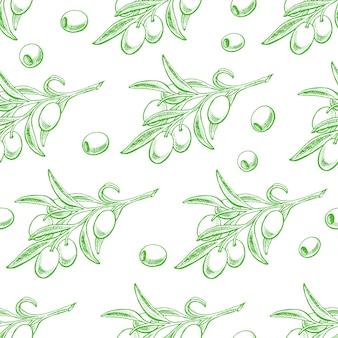 Nahtloser hintergrund mit grünen olivenzweigen. handgezeichnete illustration