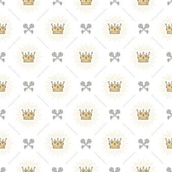 Nahtloser hintergrund mit königlicher krone und gekreuzten alten schlüsseln - muster für tapete, geschenkpapier, buch flyleaf, umschlag innen, etc.