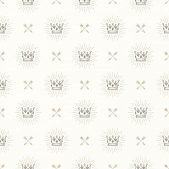 Nahtloser hintergrund mit königlicher krone und gekreuzten pfeilen - muster für tapete, geschenkpapier, buch flyleaf, umschlag innen, etc.