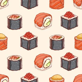 Nahtloser hintergrund mit köstlicher auswahl an handgezeichnetem sushi