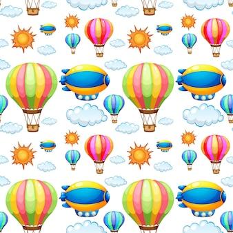 Nahtloser hintergrund mit luftballons im himmel