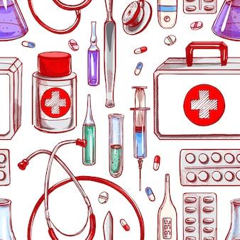 Nahtloser hintergrund mit medizinischer versorgung. handgezeichnete illustration