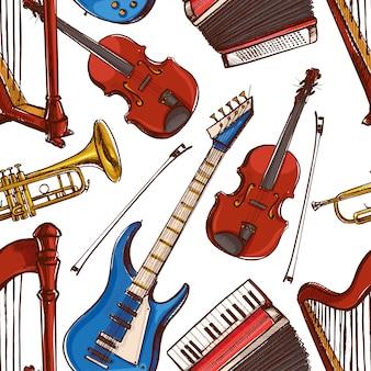 Nahtloser hintergrund mit musikinstrumenten. akkordeon, violine, bassgitarre. handgezeichnete illustration. akkordeon, violine, bassgitarre