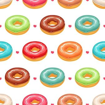 Nahtloser hintergrund mit niedlichen donuts in der bunten glasur und in den rosa herzen
