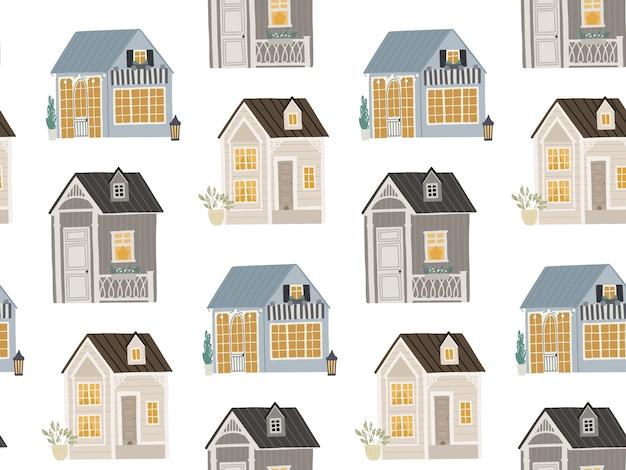 Nahtloser hintergrund mit niedlichen häusern illustration für kinder
