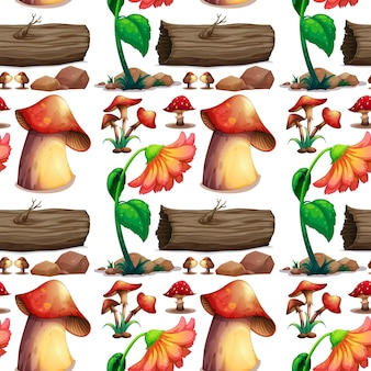 Nahtloser hintergrund mit pilzen und baumstämmen