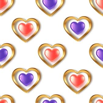 Nahtloser hintergrund mit rosa und lila herzen in einem goldrahmen. zum valentinstag, frauentag, geburtstag. realistische 3d-illustration. auf weißem hintergrund.