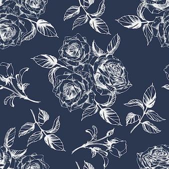 Nahtloser hintergrund mit rosen. vektor-illustration