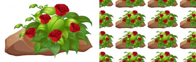 Nahtloser hintergrund mit roten rosen auf felsen
