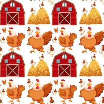 Nahtloser hintergrund mit scheune und hühnern
