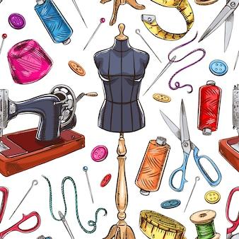 Nahtloser hintergrund mit skizzenschneiderausrüstung. schaufensterpuppe, nähen, nähmaschine. handgezeichnete illustration
