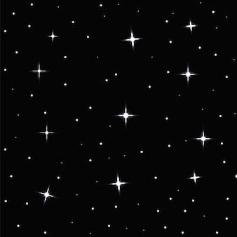 Nahtloser hintergrund mit sternen auf einer dunkelheit in der nacht