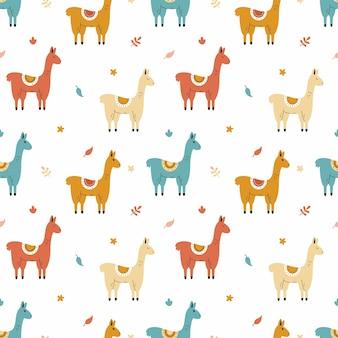 Nahtloser hintergrund mit süßem lama zum nähen von kinderkleidung. druck auf stoff und verpackungspapier. tapete für kinderzimmer. Premium Vektoren
