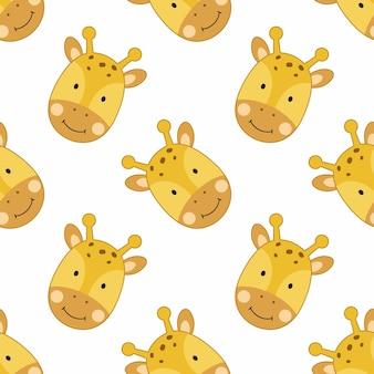 Nahtloser hintergrund mit süßer giraffe zum drucken auf stoff und textilien. tapete mit einem kindercharakter im cartoon-stil.