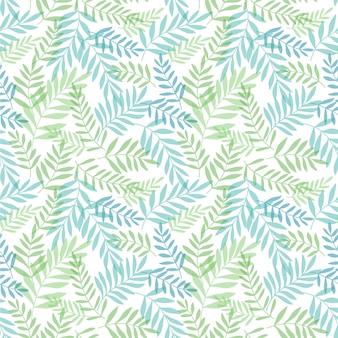 Nahtloser hintergrund mit tropischen blättern. dschungelmuster mit palmblättern.