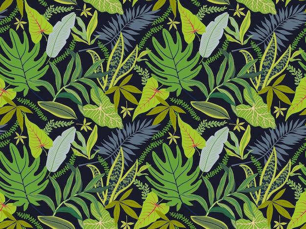 Nahtloser hintergrund mit tropischen blättern. helles dschungelmuster mit palmblättern und exotischer pflanze.