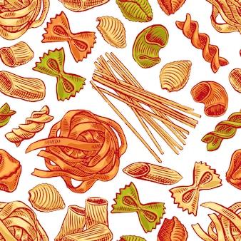 Nahtloser hintergrund mit verschiedenen arten von nudeln. handgezeichnete illustration