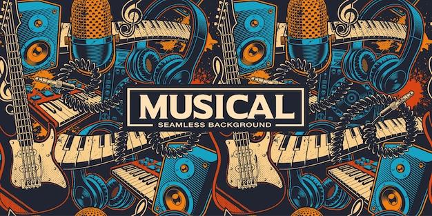 Nahtloser hintergrund mit verschiedenen cartoon-musikinstrumenten. musikkunst. farben befinden sich in den einzelnen gruppen.