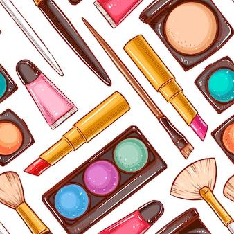 Nahtloser hintergrund mit verschiedenen dekorativen kosmetika. lippenstift, puder, lidschatten