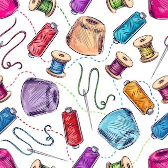 Nahtloser hintergrund mit verschiedenen garn- und nadelspulen