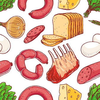 Nahtloser hintergrund mit verschiedenen lebensmitteln