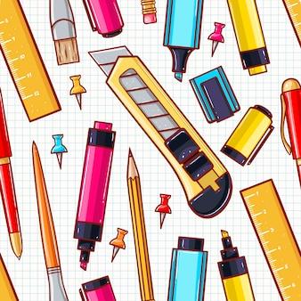 Nahtloser hintergrund mit verschiedenen schreibwaren. schreibwarenmesser, schere, marker
