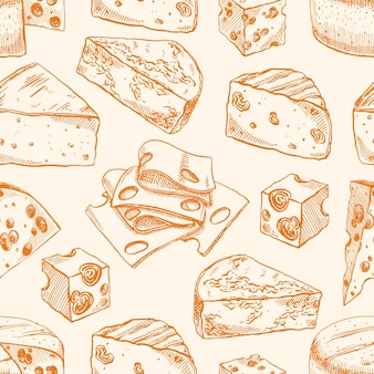 Nahtloser hintergrund mit verschiedenen skizzenkäsen. handgezeichnete illustration
