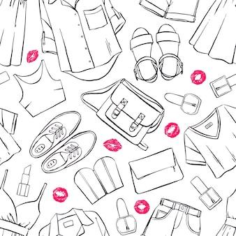 Nahtloser hintergrund mit verschiedenen sommerkleidung und accessoires für damen