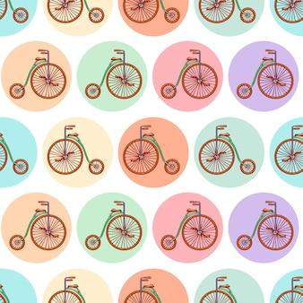 Nahtloser hintergrund mit vintage-fahrrädern. handgezeichnete illustration