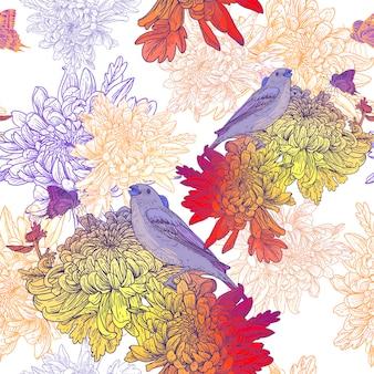 Nahtloser hintergrund mit vögeln und chrysanthemen