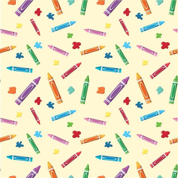 Nahtloser hintergrund mit zeichenstiften und -farben