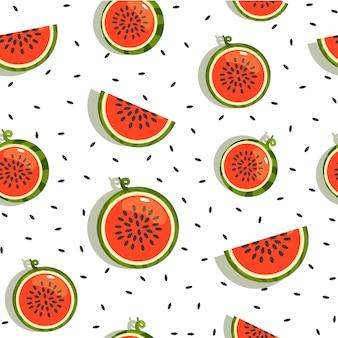 Nahtloser hintergrund, muster mit wassermelonenscheiben