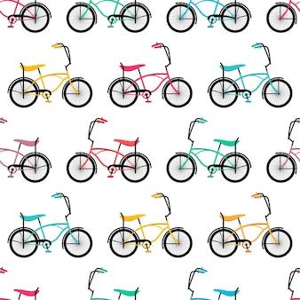 Nahtloser hintergrund niedlich von retro-fahrrädern