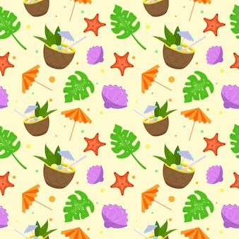Nahtloser hintergrund. sommerurlaub. vektor-illustration. cocktail in ananas.