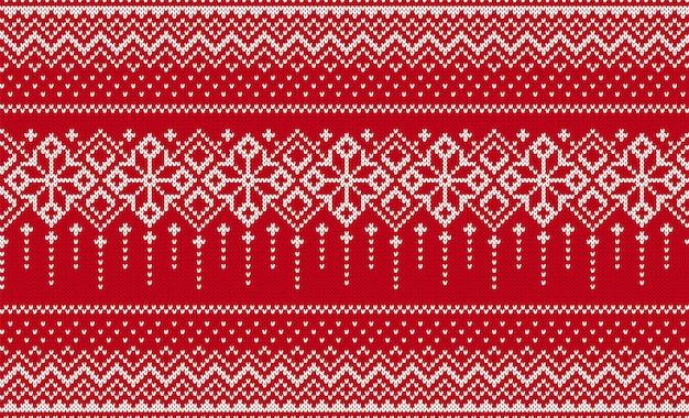 Nahtloser hintergrund stricken. weihnachtsrotes muster. vektor-illustration.