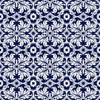 Nahtloser hintergrund, vintage spiralblatt rundes blumenkaleidoskopmuster.